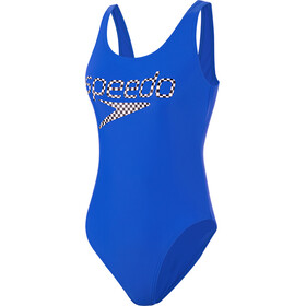 speedo Logo Deep U-Back Swimsuit Women, revlogo bondi blue/white